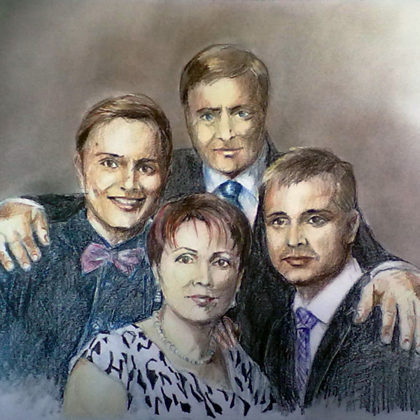 Family pencil portrait