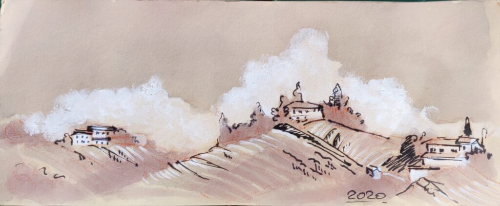 piedmont landscape watercolor with red wines