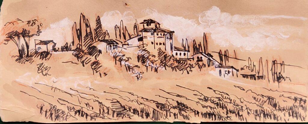 Tuscany landscape watercolor with brunello di montalcino