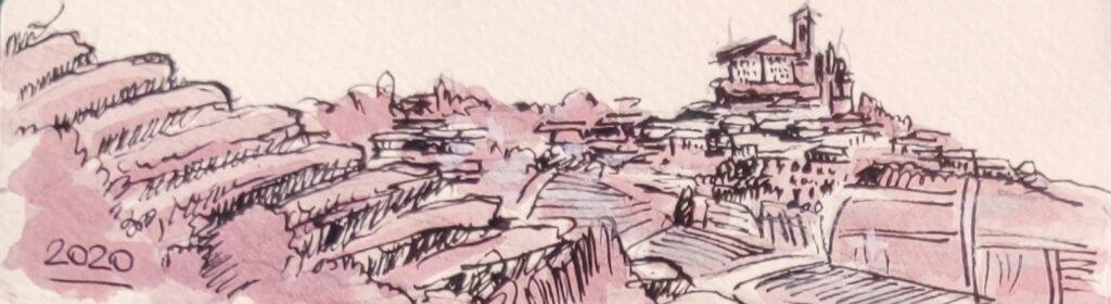 Piedmont landscape with Bonarda red wine