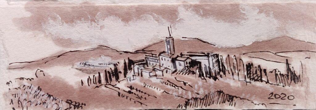 Tuscany landscape with brunello di montalcino