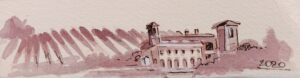 paesaggio piemontese dipinto con freisa