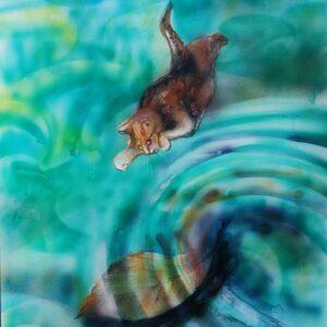 Gattifoglio nel lago; aerografia su carta; 25x40 cm, 2021. Compra arte on line