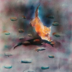 Gattifoglio dopo la pioggia; aerografia su carta; 25x40 cm, 2021. Compra arte on line
