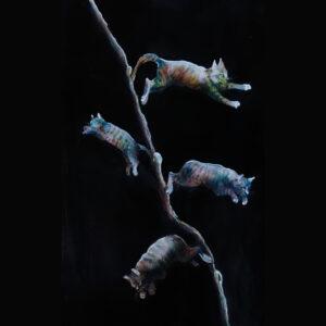 Ramo del gattifoglio blu; aerografia su carta; 25x40 cm, 2021. Compra arte on line